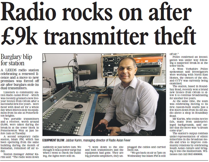 Radio rocks on after £9k transmitter theft